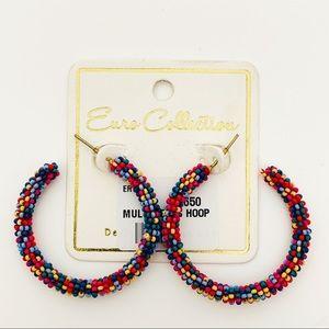 Multicolored Seed Beaded C Hoop Earrings